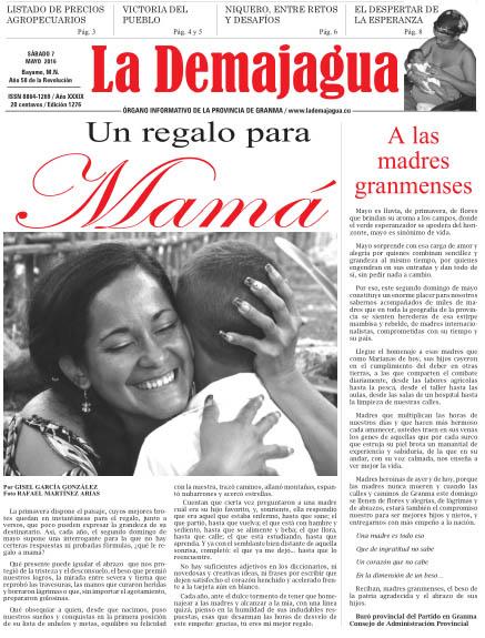 Edición impresa 1276 del semanario La Demajagua, sábado 7 de mayo de 2016