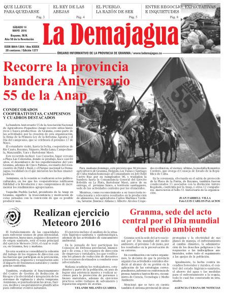 Edición impresa 1277 del semanario La Demajagua, sábado 14 de mayo de 2016