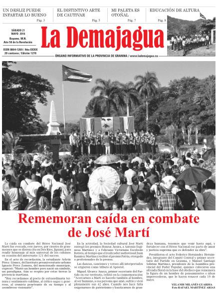 Edición impresa 1278 del semanario La Demajagua, sábado 21 de mayo de 2016