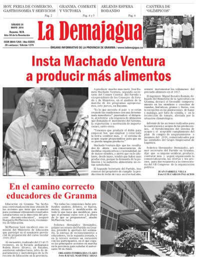 Edición impresa 1279 del semanario La Demajagua, sábado 28 de mayo de 2016