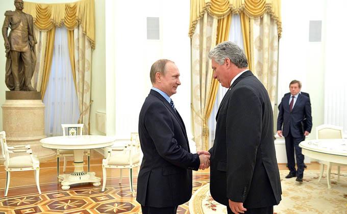Recibe presidente de Rusia Vladimir Putin a Miguel Díaz-Canel