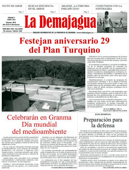 Edición impresa 1280 del semanario La Demajagua, sábado 4 de junio de 2016