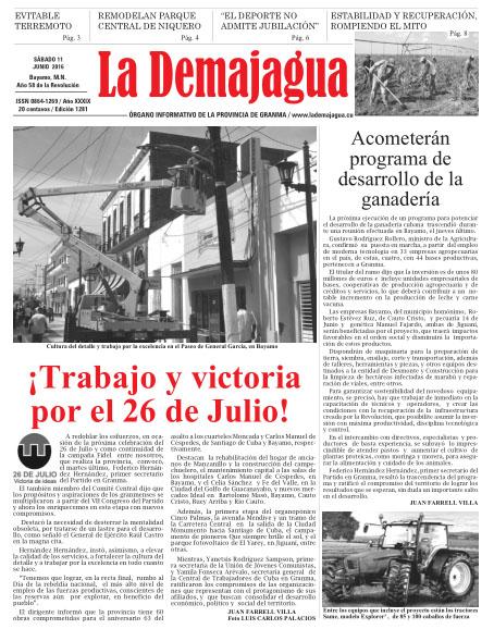 Edición impresa 1281 del semanario La Demajagua, sábado 11 de junio de 2016