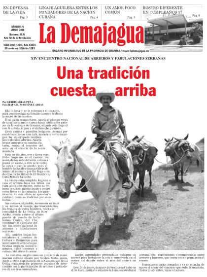 Edición impresa 1283 del semanario La Demajagua, sábado 25 de junio de 2016