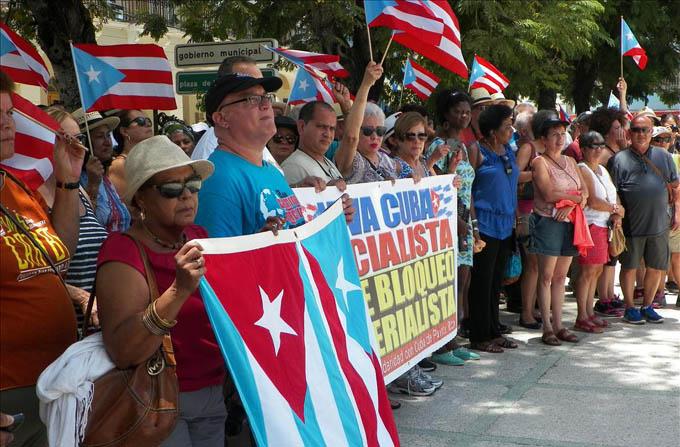 Puertorriqueños contra el bloqueo yanqui a Cuba
