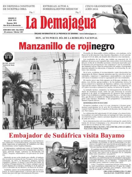 Edición impresa 1287 del semanario La Demajagua, sábado 23 de julio de 2016
