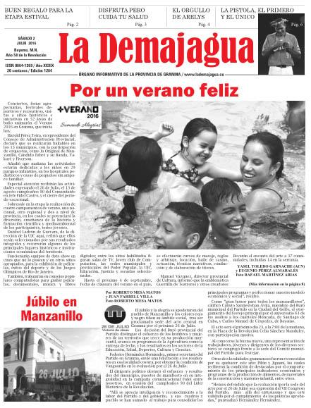 Edición impresa 1284 del semanario La Demajagua, sábado 2 de julio de 2016