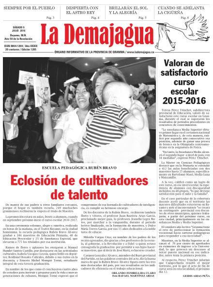 Edición impresa 1285 del semanario La Demajagua, sábado 9 de julio de 2016.