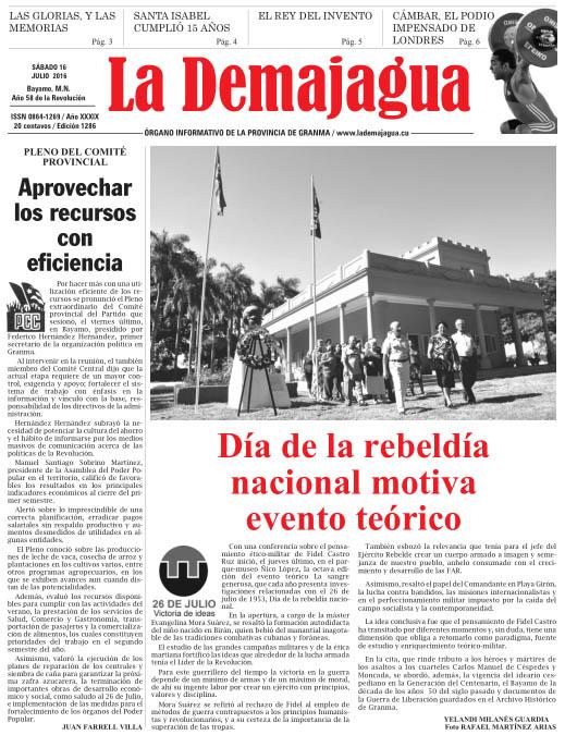 Edición impresa 1286 del semanario La Demajagua, sábado 16 de julio de 2016