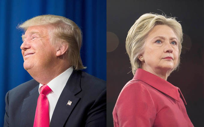 In a two photo combination,  Republican presidential hopeful Donald Trump in Iowa on Jan. 30, 2016, and Democratic presidential hopeful Hillary Clinton in Washington on March 21, 2016.