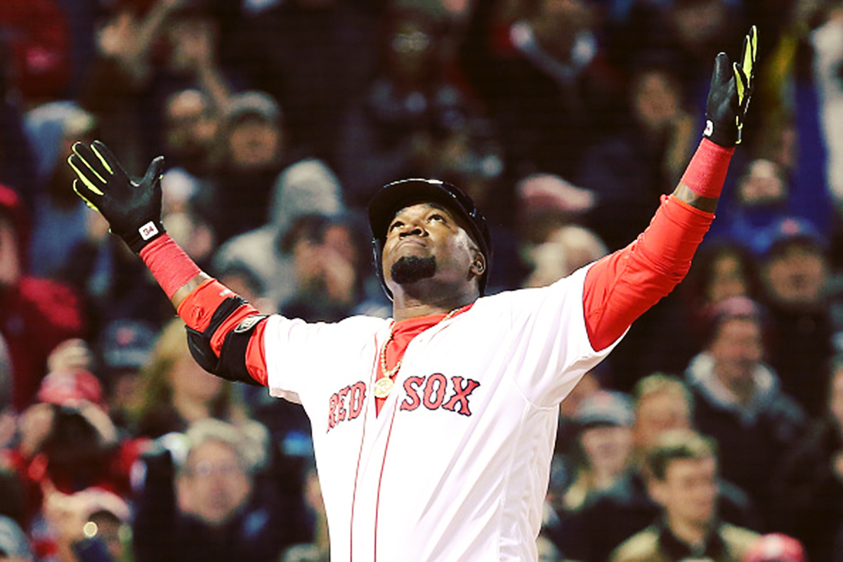 4/19/2016 | David Ortiz celebrates after hitting a two-run home run in the eighth inning during the game against the New York Yankees.  (Photo by Adam Glanzman/Getty Images)