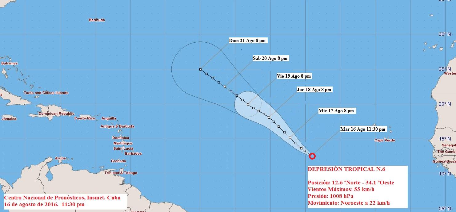 Se forma la sexta depresión tropical en el Atlántico lejano