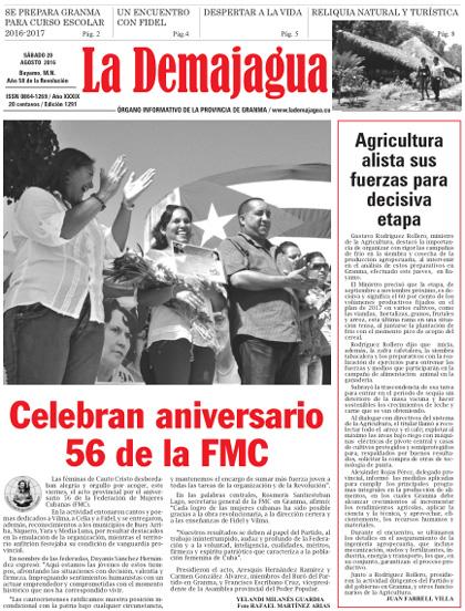 Edición impresa 1291 del semanario La Demajagua, sábado 20 de agosto de 2016