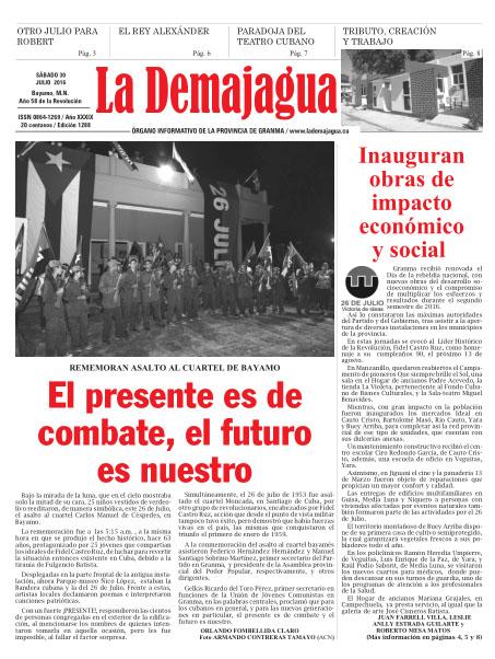 Edición impresa 1288 del semanario La Demajagua, sábado 30 de julio de 2016