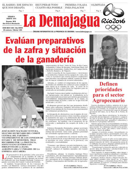Edición impresa 1289 del semanario La Demajagua, sábado 6 de agosto de 2016