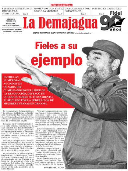 Edición impresa 1290 del semanario La Demajagua, sábado 13 de agosto de 2016