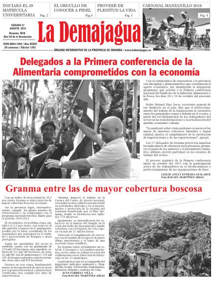 Edición impresa 1292 del semanario La Demajagua, sábado 27 de agosto de 2016