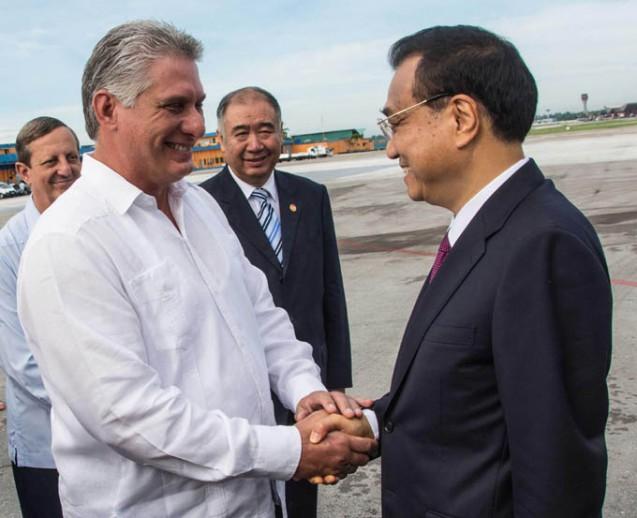 CUBA-LA HABANA-DESPIDE DÍAZ-CANEL AL PRIMER MINISTRO DEL CONSEJO DE ESTADO DE LA REPÚBLICA  POPULAR CHINA