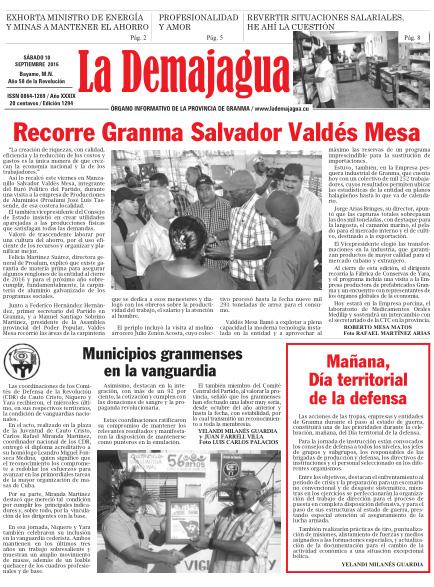Edición impresa 1294 del semanario La Demajagua, sábado 10 de septiembre de 2016