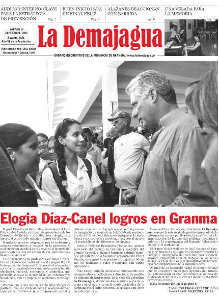 Edición impresa 1295 del semanario La Demajagua, sábado 17 de septiembre de 2016,