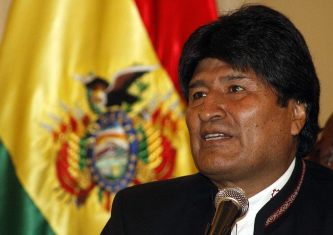 Bolivia's President Evo Morales speaks during a news conference at the presidential palace in La Paz