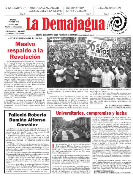 Edición impresa 1297 del semanario La Demajagua, sábado 1 de octubre de 2016