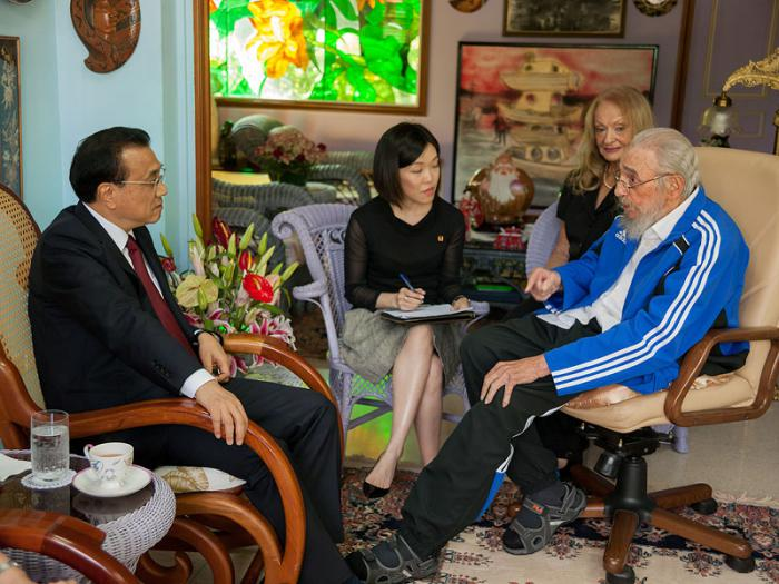 Li Keqiang y Fidel castro Ruz
