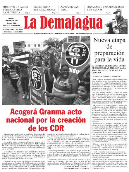 Edición impresa 1293 del semanario La Demajagua, sábado 3 de septiembre de 2016