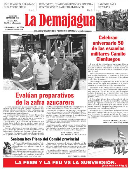 Edición impresa 1296 del semanario La Demajagua, sábado 24 de septiembre de 2016