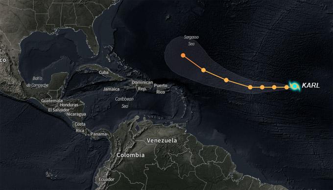 Tormenta tropical Karl continúa desplazándose al oeste