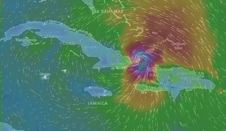 Matthew sale al mar por un punto al este y próximo a Baracoa (Aviso Nro 31, 12:00 am)