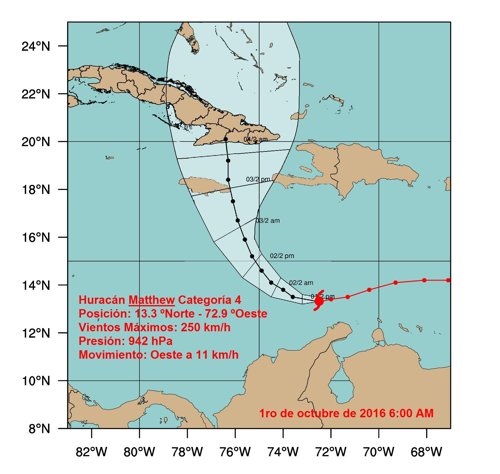 Matthew amenaza potencial para la región oriental de Cuba