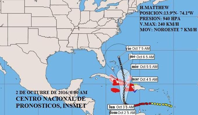 Huracán Matthew continúa lentamente rumbo al noroeste hacia Cuba  (Aviso Nro 17, 6:00 am)