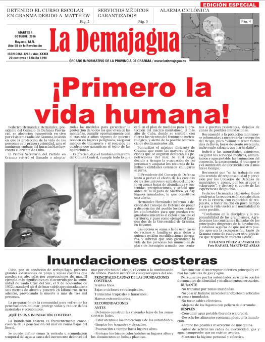 Edición impresa 1298 del semanario La Demajagua, martes 4 de octubre de 2016