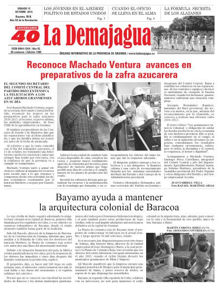 Edición impresa 1300 del semanario La Demajagua, sábado 15 de octubre de 2016