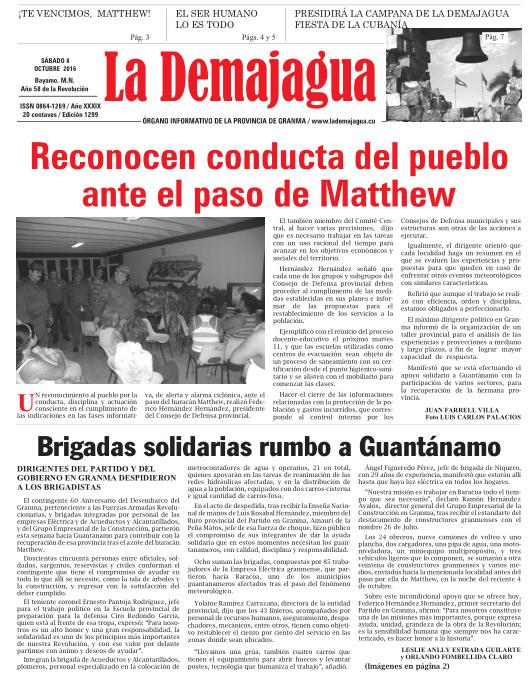 Edición impresa 1299 del semanario La Demajagua, sábado 8 de octubre de 2016