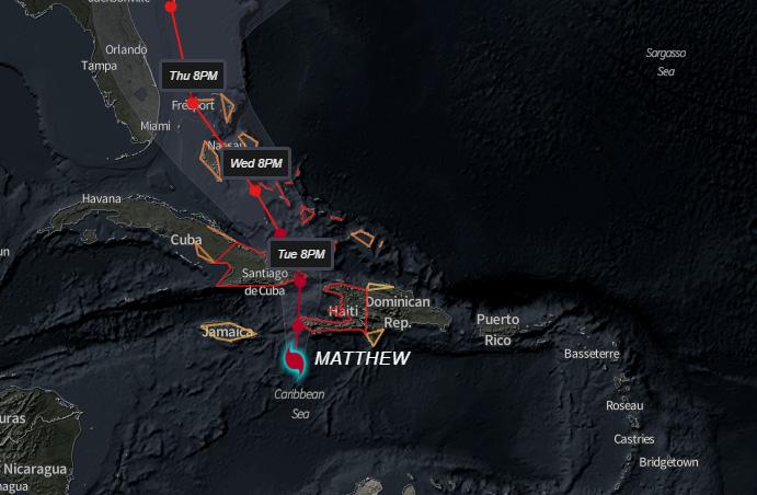 Huracán Matthew se acerca a Haití (Aviso Nro 24, 12:00 am)