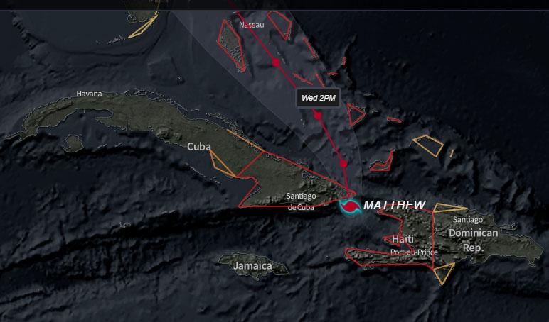Matthew toca tierra, por la costa sur de Guantánamo (Aviso Nro 29, 6:00 pm)