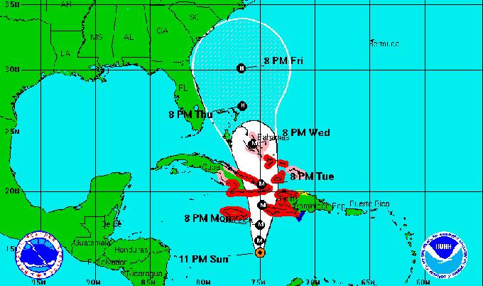 El intenso huracán Matthew se desplaza lentamente al norte (Aviso Nro 20, 12:00 am)