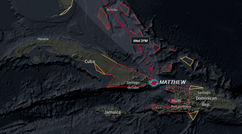 Matthew transita por territorio oriental como un intenso huracán (+ videos)