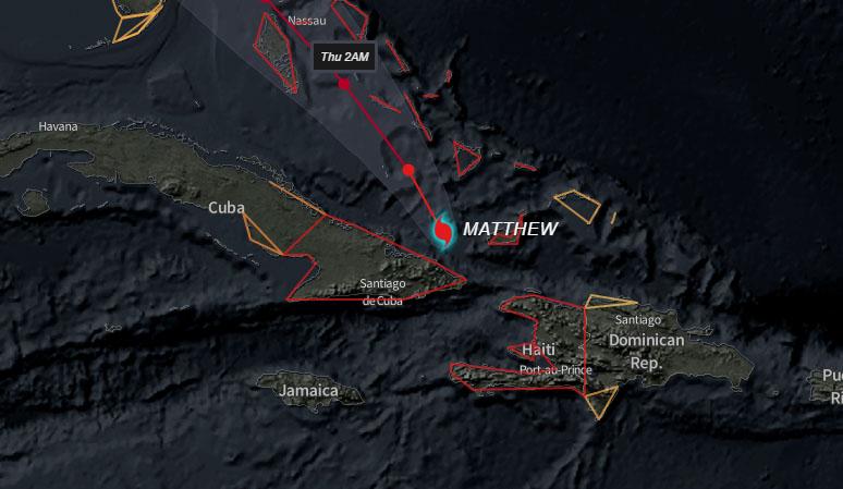 Matthew al norte de Cuba
