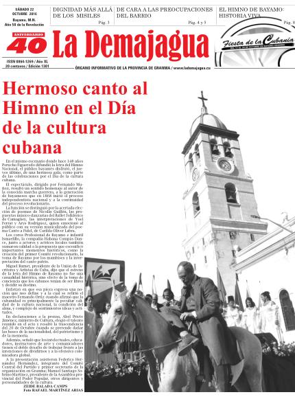 Edición impresa 1301 del semanario La Demajagua, sábado 22 de octubre de 2016
