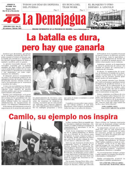 Edición impresa 1302 del semanario la Demajagua, sábado 29 de octubre de 2016