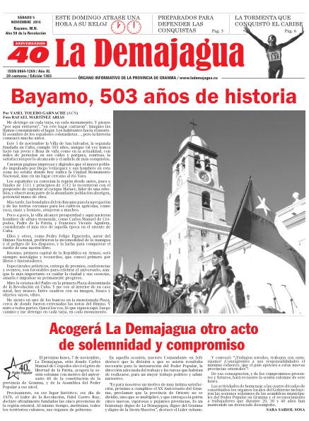 Edición impresa 1303 del semanario La Demajagua, sábado 5 de noviembre de 2016