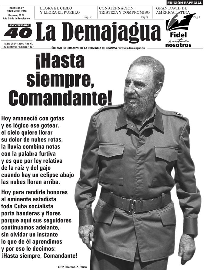 Portada de la edición especial del periódico La Demajagua, el 27 de noviembre