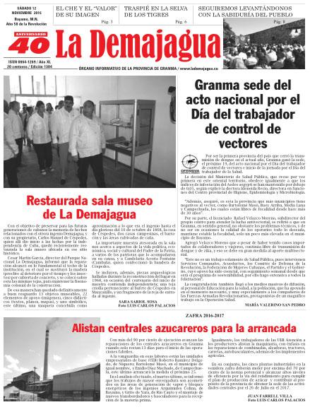 Edición impresa 1304 del semanario La Demajagua, sábado 12 de noviembre de 2016