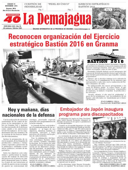 Edición impresa 1305 del semanario La Demajagua, sábado 19 de noviembre de 2016