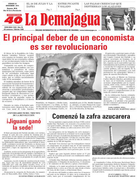 Edición impresa 1306 del semanario La Demajagua, sábado 26 de noviembre de 2016