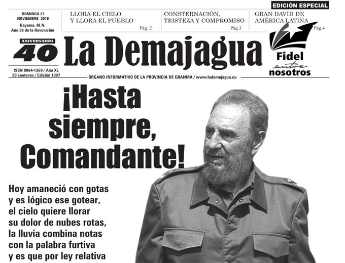Edición impresa de La Demajagua como homenaje póstumo a Fidel Castro (PDF)