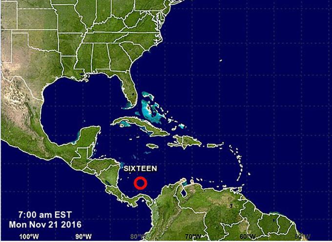 Se forma décimo sexta depresión tropical